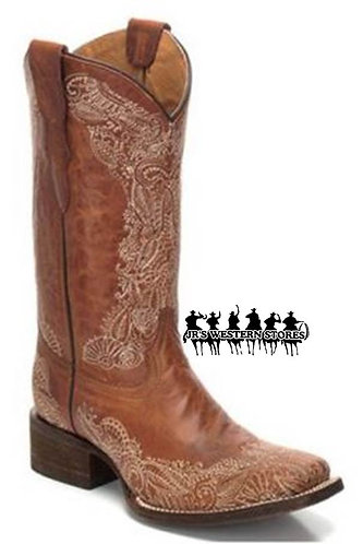 Corral Tan Honey Stitched Kid's Boot
