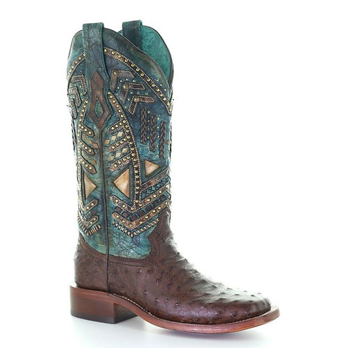 Corral Ladies Brown & Turquoise Ostrich Embroidery & Studs Boots