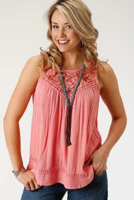 ROPER WOMENS SLEEVELESS SHIRT CORAL 03-052-0565-3030