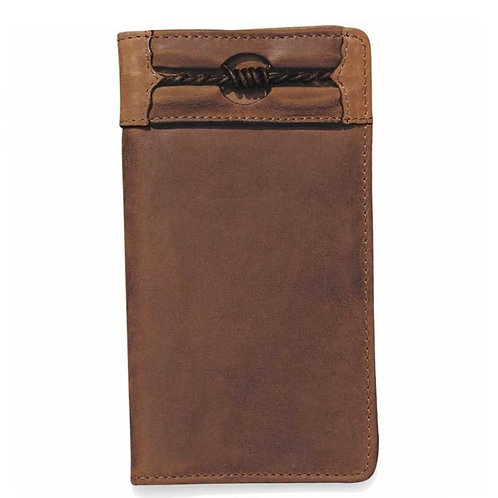 SILVER CREEK AGED BARK LEATHER FENCED IN CHECKBOOK WALLET