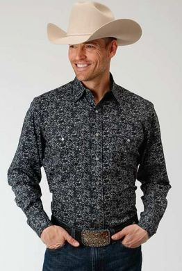 ROPER MENS L/S SHIRT SNAP PERFORMANCE Y/D ALLOVER PRINT 03-001-0064-0139