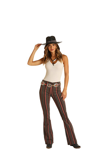 ROCK & ROLL COWGIRL HIGH RISE FLARE\ STRIPE PRINT