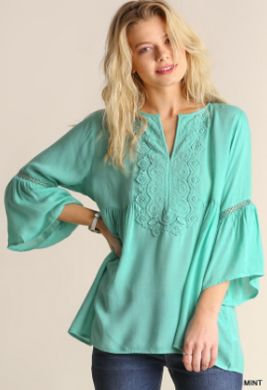UMGEE Lace Detail Top with 3/4 Bell Sleeves MINT R7292