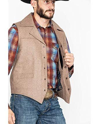Cripple Creek Men's Wool Melton Snap Front Collared Vest