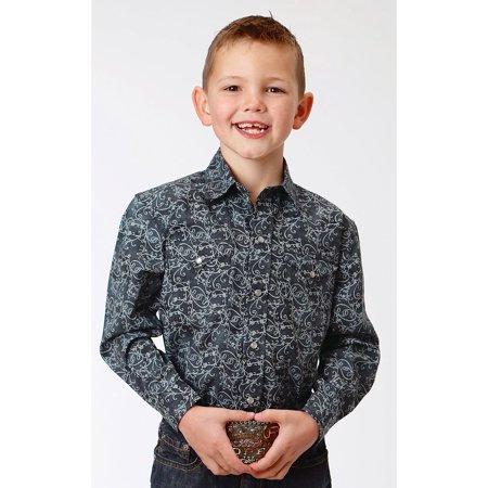 Roper Boys Charcoal Filigree Print Western Shirt