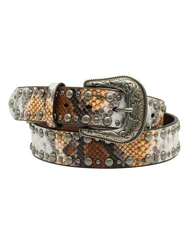 Angel Ranch Western Belt Womens Python Print Nail Heads D140000902