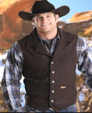 PANHANDLE SLIM/Powder River Montana Wool Heather Men's Vest- Brn 98-1176