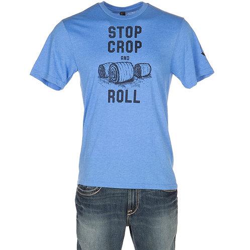 Mason Jar Label Llc Mens Stop Crop and Roll Blue T Shirt  Vintageblue