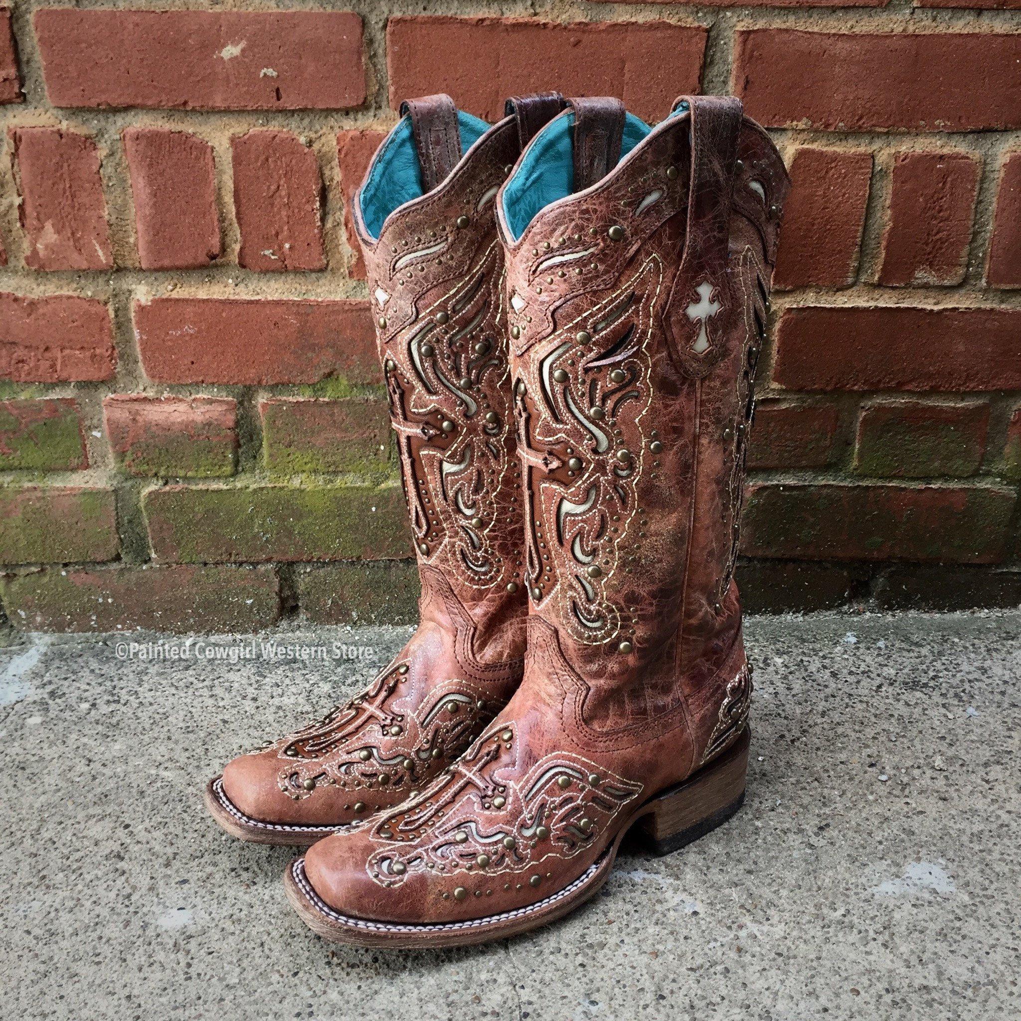 Corral Ladies CognacBone Inlay Cross & Studs Boots