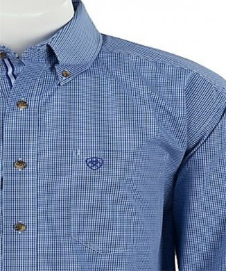 Ariat Men's L/S Gandolf Royal Blue Mini Check Western Shirt 10017101