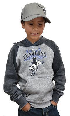 Boy's Cowboy Hardware Fearless Raglan Acid Wash Black Sleeved Pullover