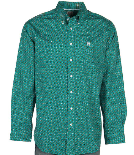 Cinch Long Sleeve Turquoise and Coral Print Shirt