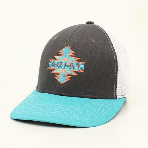 Ariat Youth Grey/TQ Aztec Logo Ball Cap