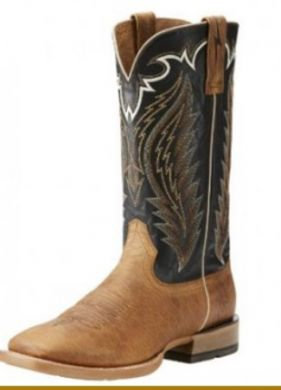 ARIAT MENS TOP HAND BRN/BLK SQUARE TOE WESTERN BOOT 10021675