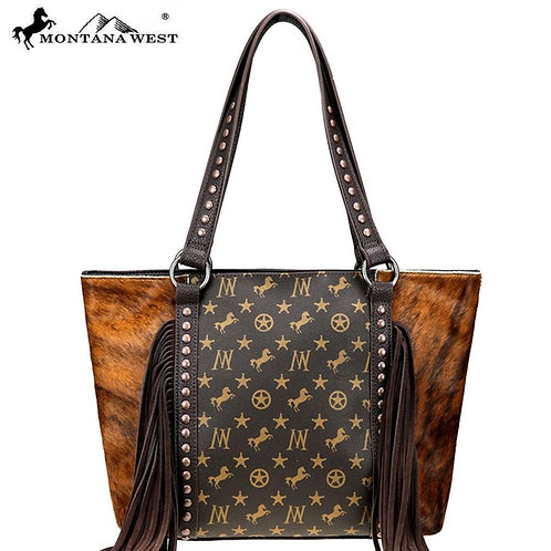 MONTANA WEST SIGNATURE MONOGRAM HAIR-ON TOTE