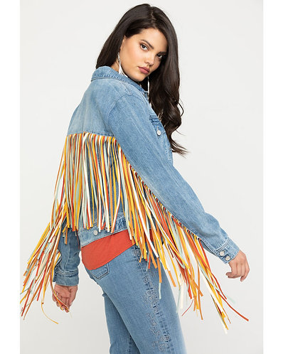 Honey Creek by Scully Women's Colorful Fringe Denim Jacket