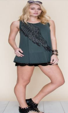 VOCAL BASIC TANK TOP W/ PRINT STONE G15756T