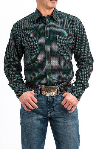 MENS BLACK AND TURQUOISE GEOMETRIC PRINT WESTERN SNAP SHIRT