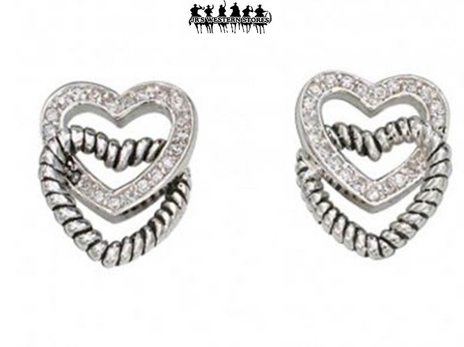 Crystal & Twisted Rope Double Heart Earrings