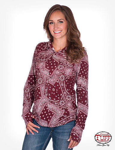 COWGIRL TUFF RED BANDANA PULLOVER BUTTON-UP