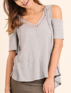UMGEE Cold Shoulder Top with Front Tie GREY R7197