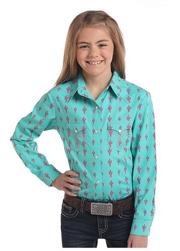 GIRLS LS TWO POCKET SNAP BLOUSE.
