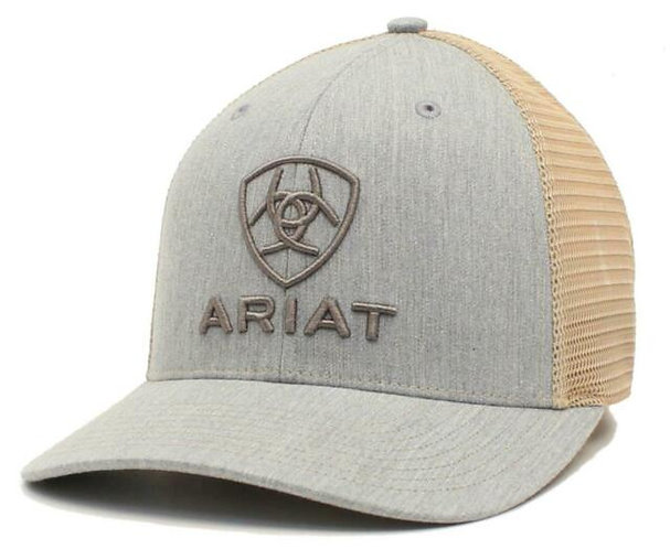Ariat Mens Hat Baseball Cap Snap Mesh R112 Embroidery Grey A300012008