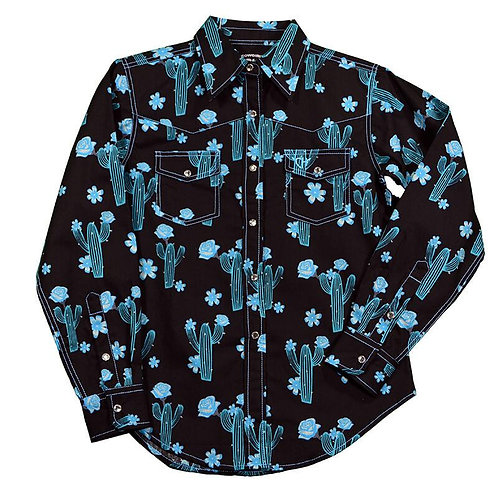 Girl's Cowgirl Hardware Cactus Rose Print Black/Turquoise L/S Western Sh