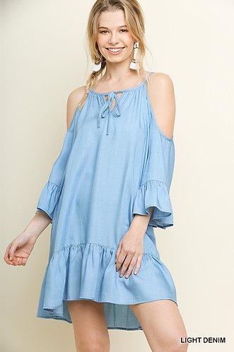 UMGEE % Tencel 3/4 Bell Sleeve Open Shoulder Dress