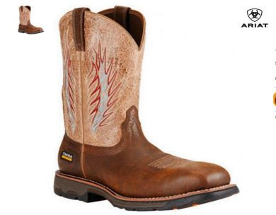 ARIAT BROWN WORKHOG MESTENO II COWBOY WORK BOOTS - SOFT SQUARE TOE 10018556