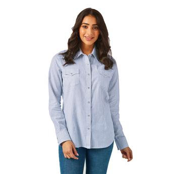 Wrangler® Western Fashion Top - LWE509M - Blue/White