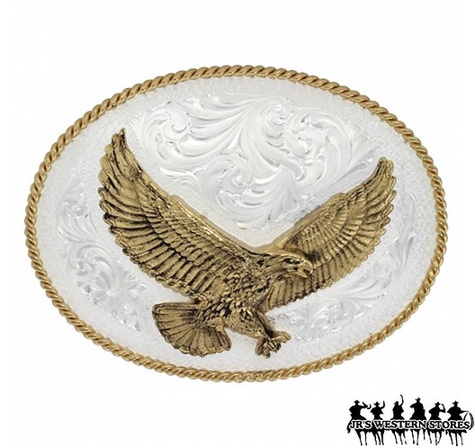 Silver Engraved Western Belt Buckle with Large Eagle