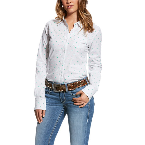 Ariat White and Black Stripe with Cacti Long Sleeve Shirt