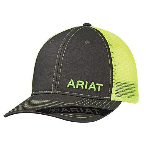 Ariat Logo Lime Green & Gray Ball Cap Mesh Snap Back 1503323