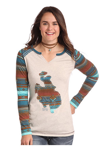 LADIES LS KNIT WITH SPLIT NECK  FRONT OPENING