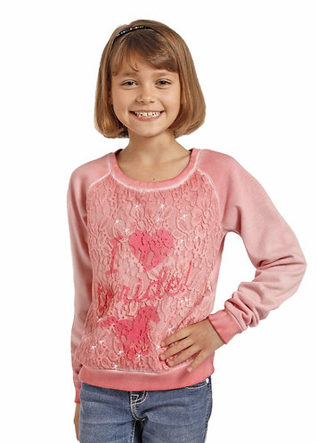 Rock & Roll Cowgirl Pink Lace Sweater