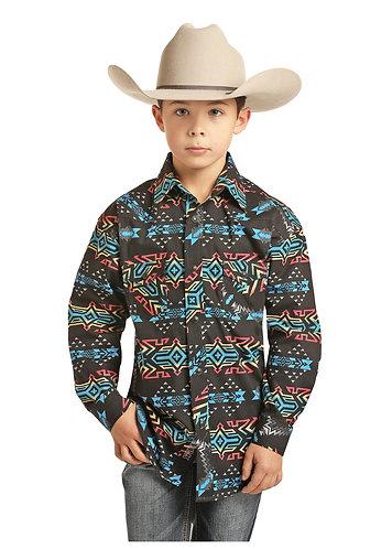 BOY'S ROCK AND ROLL COWBOY POPLIN AZTEC PRINT
