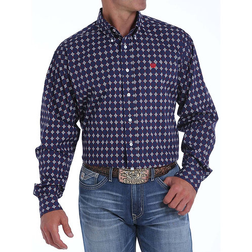 Cinch Mens LS Medallion Print Down Shirt Navy