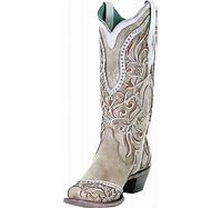 CORRAL A3837 White Overlay and Embroidered Studs and Crystals Boots