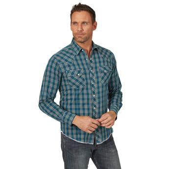 Wrangler® Fashion Snap Shirt - MVG268M - Teal/Tan