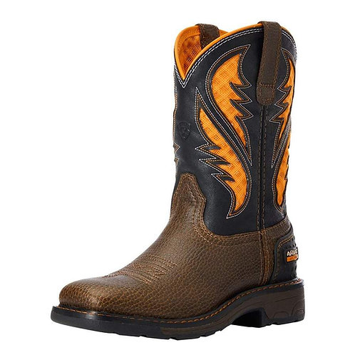 Kids Ariat VentTek Cocoa Brown Work Orange Cowboy Boot