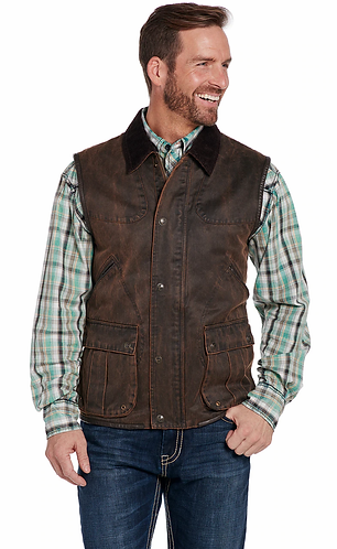 CRIPPLE CREEK ENZYME WASHED COTTON SNAP/ZIP FRONT VEST WITH CONCEALED CARRY POCK