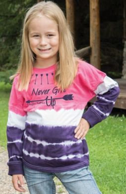 "Cowgirl Tuff Girls ""Never Give Up"" Tie Dyed L/S Tee"