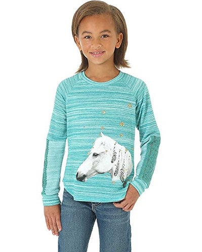 Wrangler Girls Turquoise Horse Long Sleeve Baseball Tee