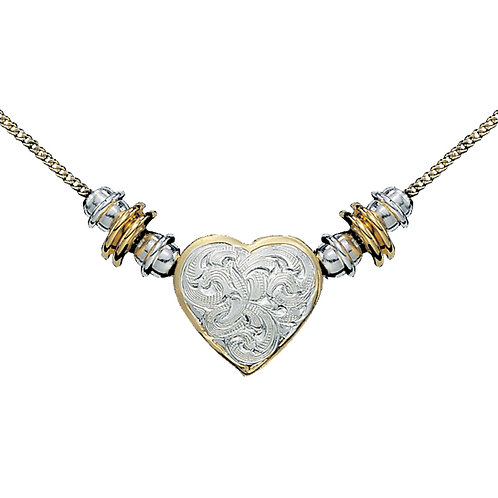 Silver and Gold Montana Heart Beaded Necklace