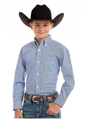 Rough Stock Boys Blue Stripe Western Shirt