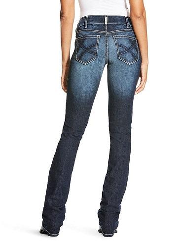Ariat Women's R.E.A.L. Mid Rise Satin Stitch Ella Stackable Straight Leg Jean -