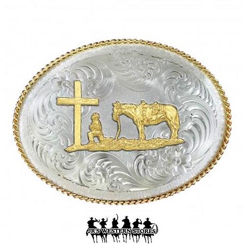 German Silver Christian Cowboy Buckle