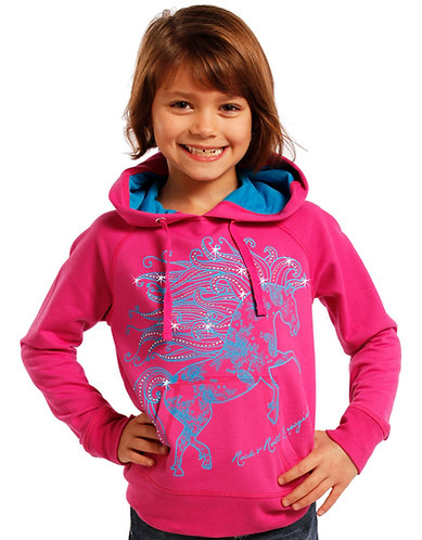 Rock & Roll Cowgirl Fuchsia/Blue Bling Horse Hoodie