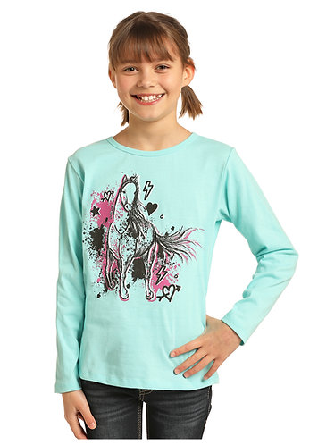 ROCK & ROLL COWGIRL  BLACK AND PINK HORSE